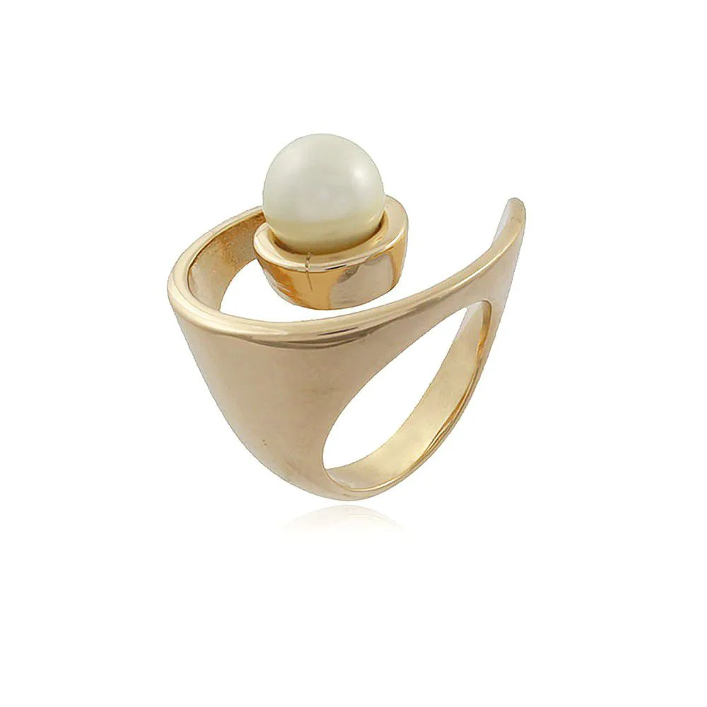 Anel Órbita Ouro com Pérola Shell