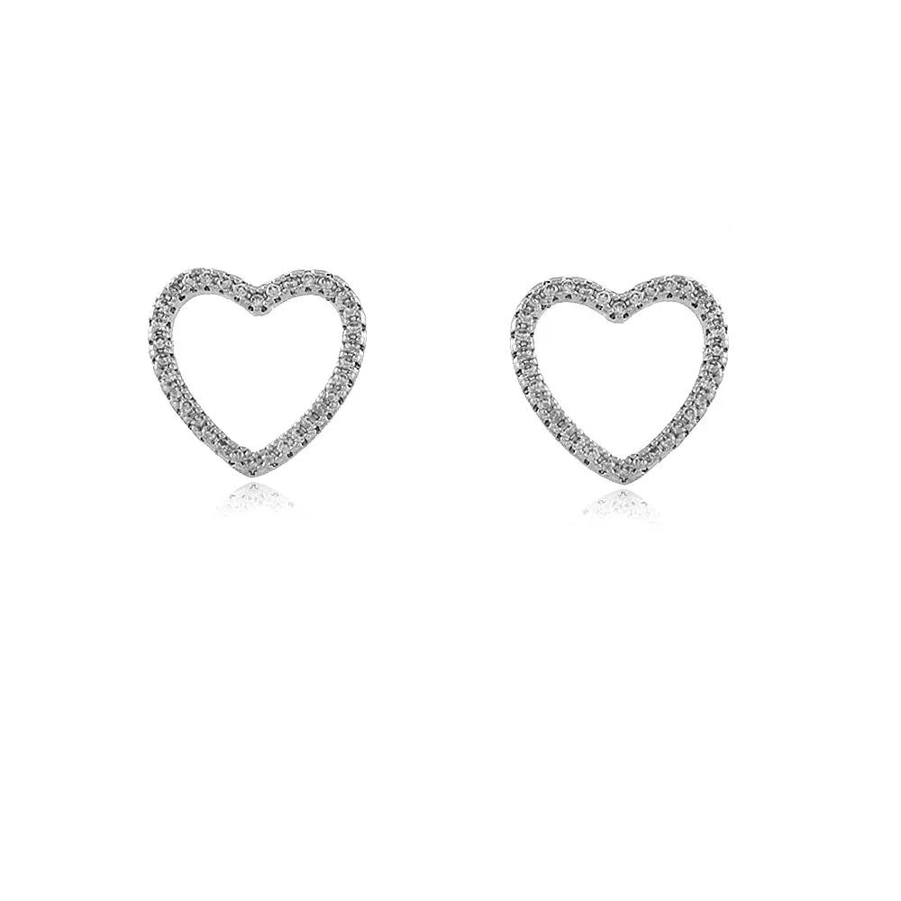 Brinco Coração Zircônias Ródio Branco