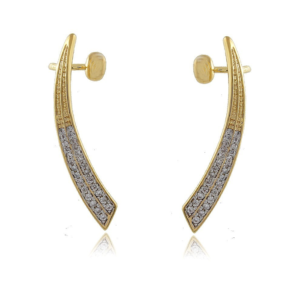 Brinco Ear Cuff Zirconias Cristais