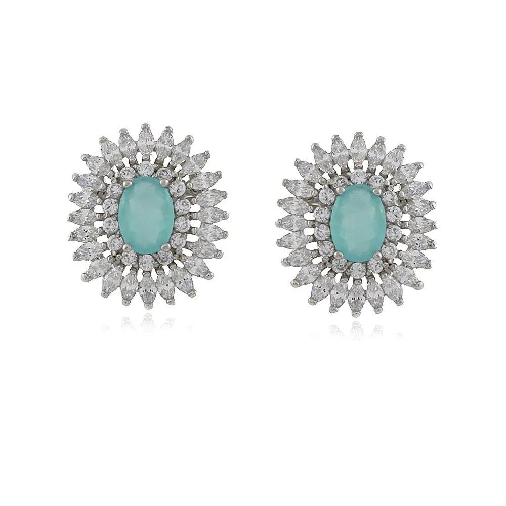 Brinco Oval Renda Zirconia Azul Cristal Prata 925