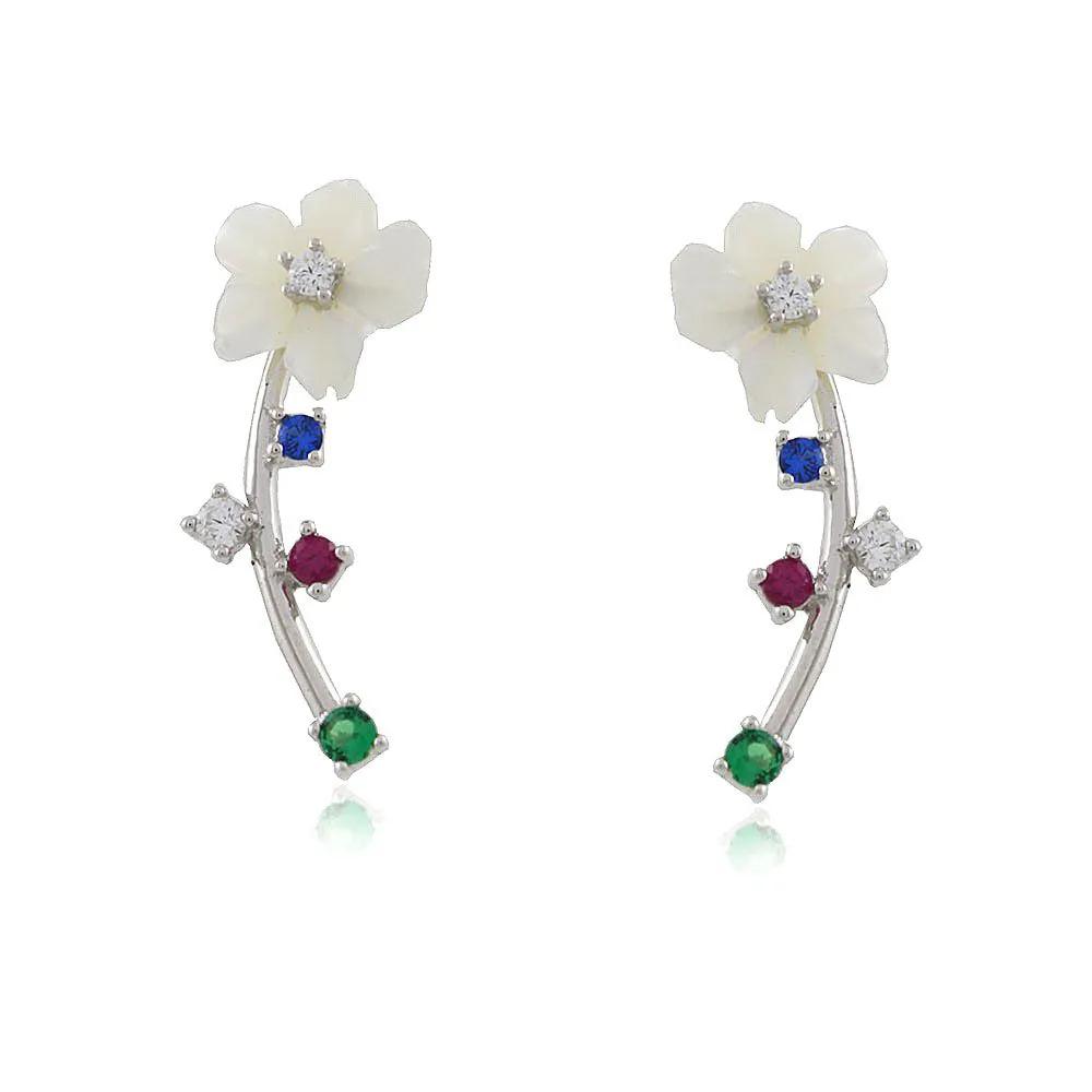 Brinco Prata Flor Madrepérola e Zirconias Colors
