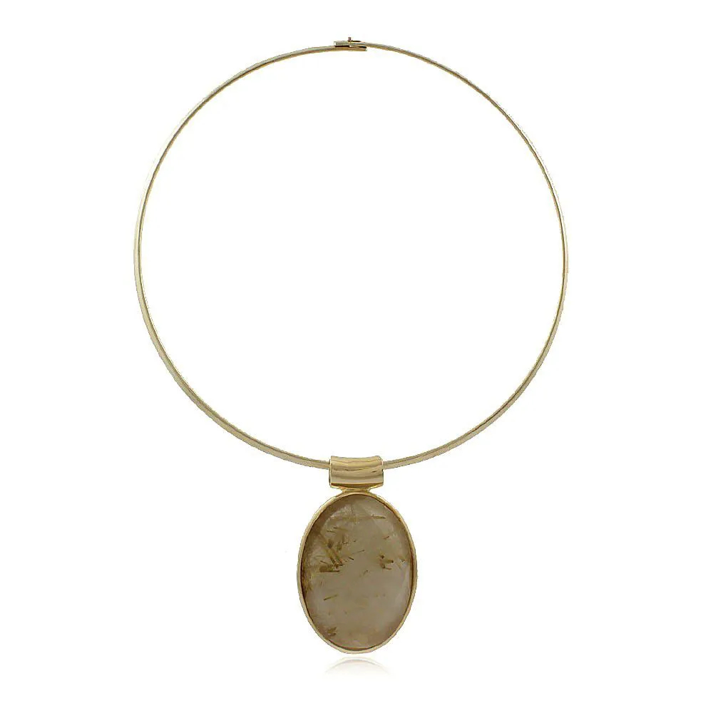 Colar Aro Ouro Com Pingente Cristal Rutilado e Pedra Facetada