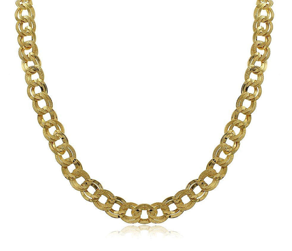 Colar Elos Ouro Entrelaçados Liso e Diamantado