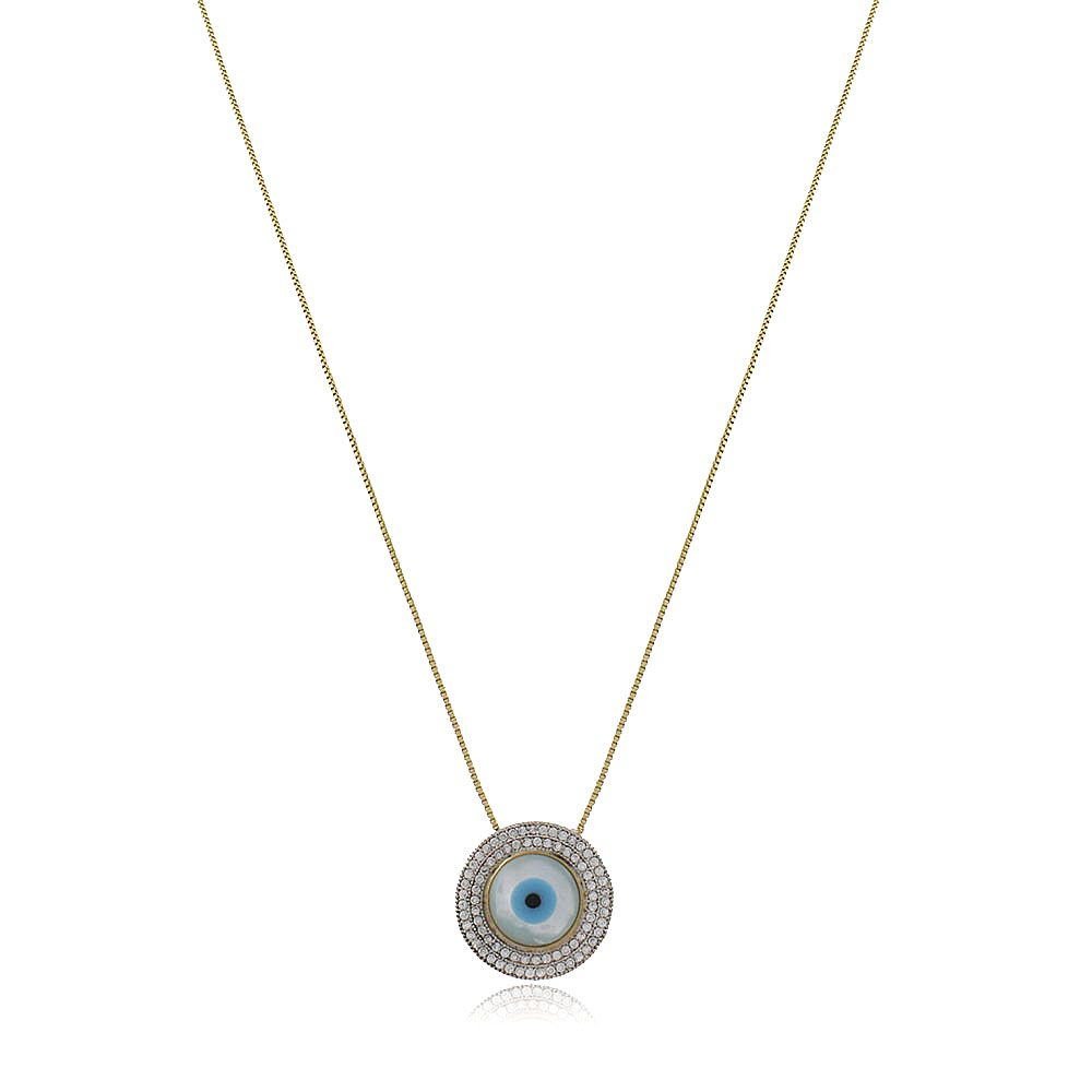 Colar Olho Grego Madrepérola Cravejado Zirconias Cristal