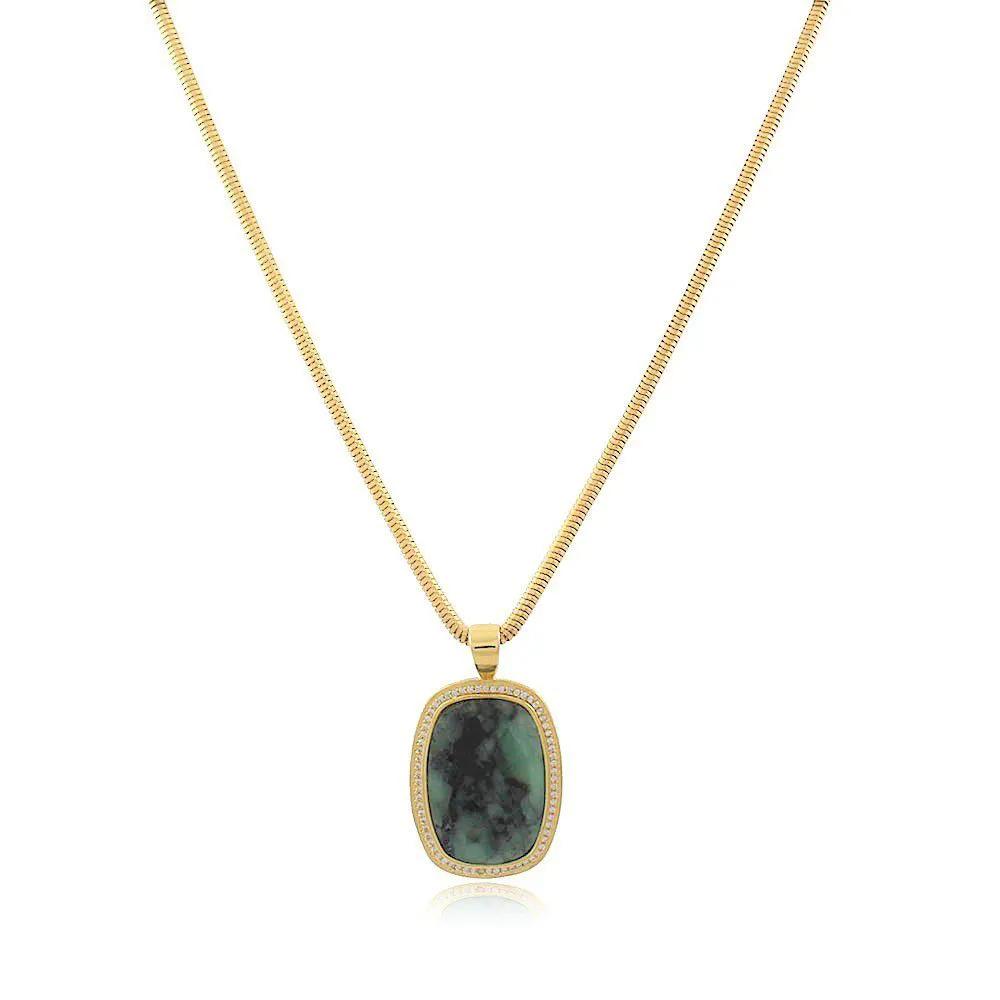Colar Ouro com Pingente Esmeralda e Zircônias Cristal
