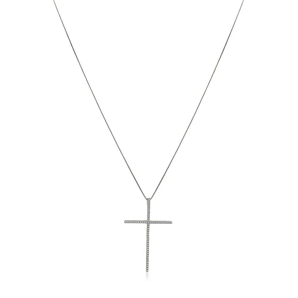 Colar Prata 925 Crucifixo Palito Grande e Zircônia Cristal