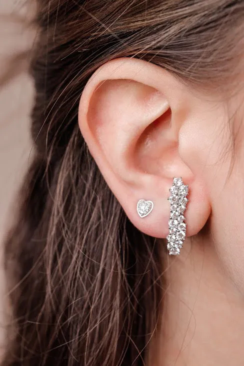 Ear Hook Zircônias Cravação Pavê
