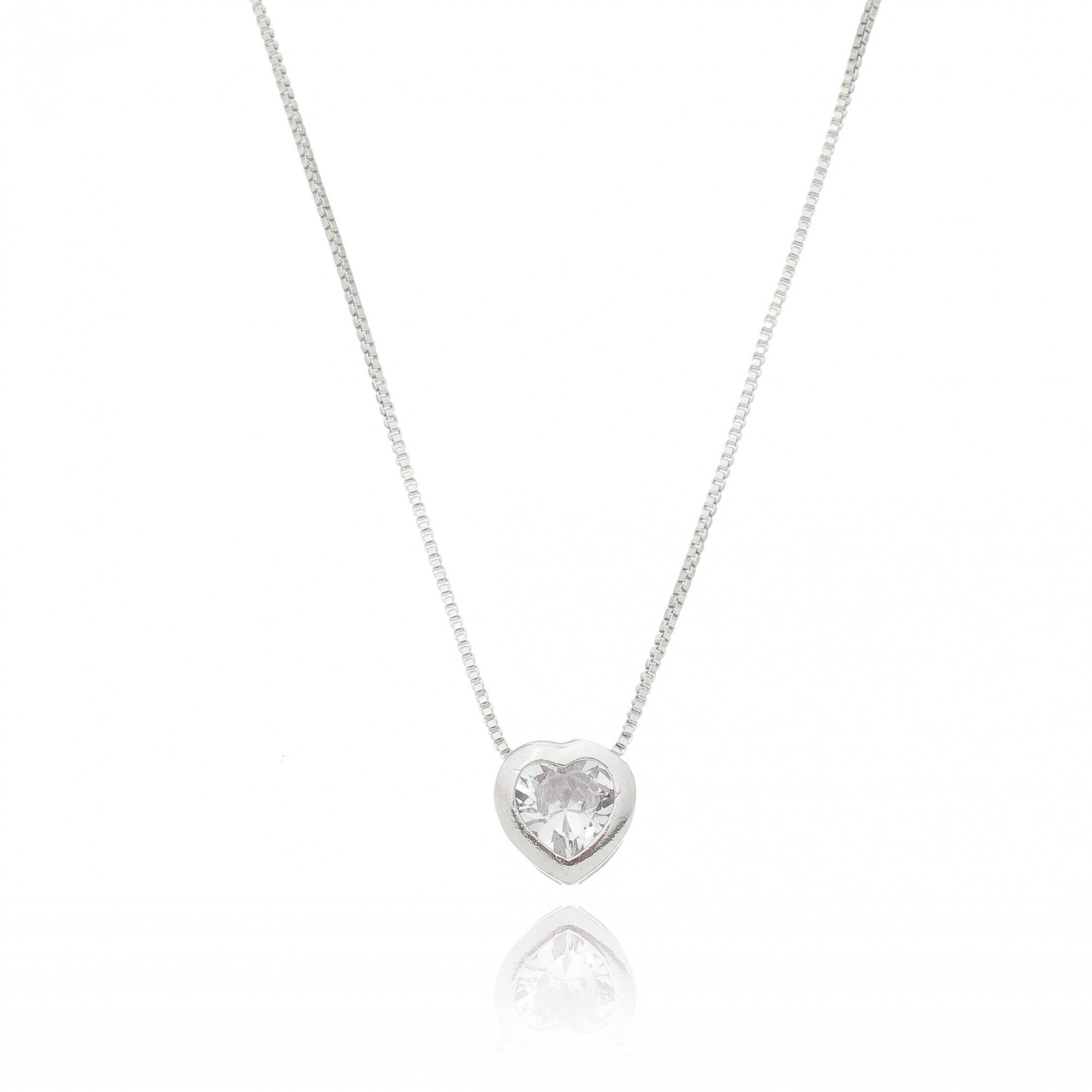 Gargantilha Coração Cristal Ródio Branco