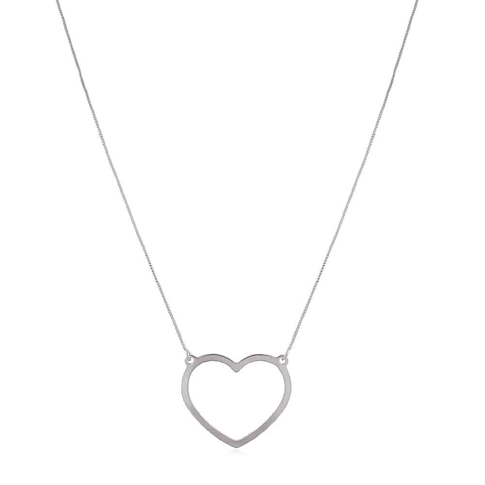 Gargantilha Coração Liso Metal Ródio Branco