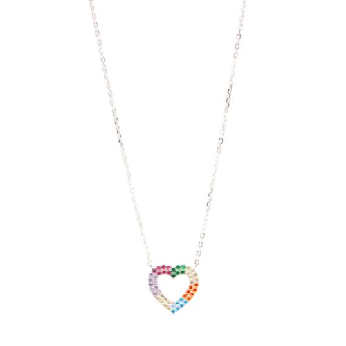 Gargantilha Coração Prata Vazado Cravejado Colors