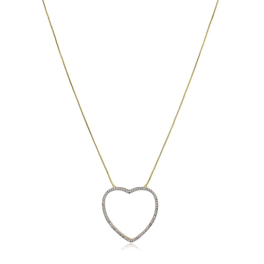 Gargantilha Coração Zirconias Ouro