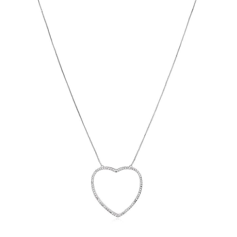 Gargantilha Coração Zirconias Ródio Branco