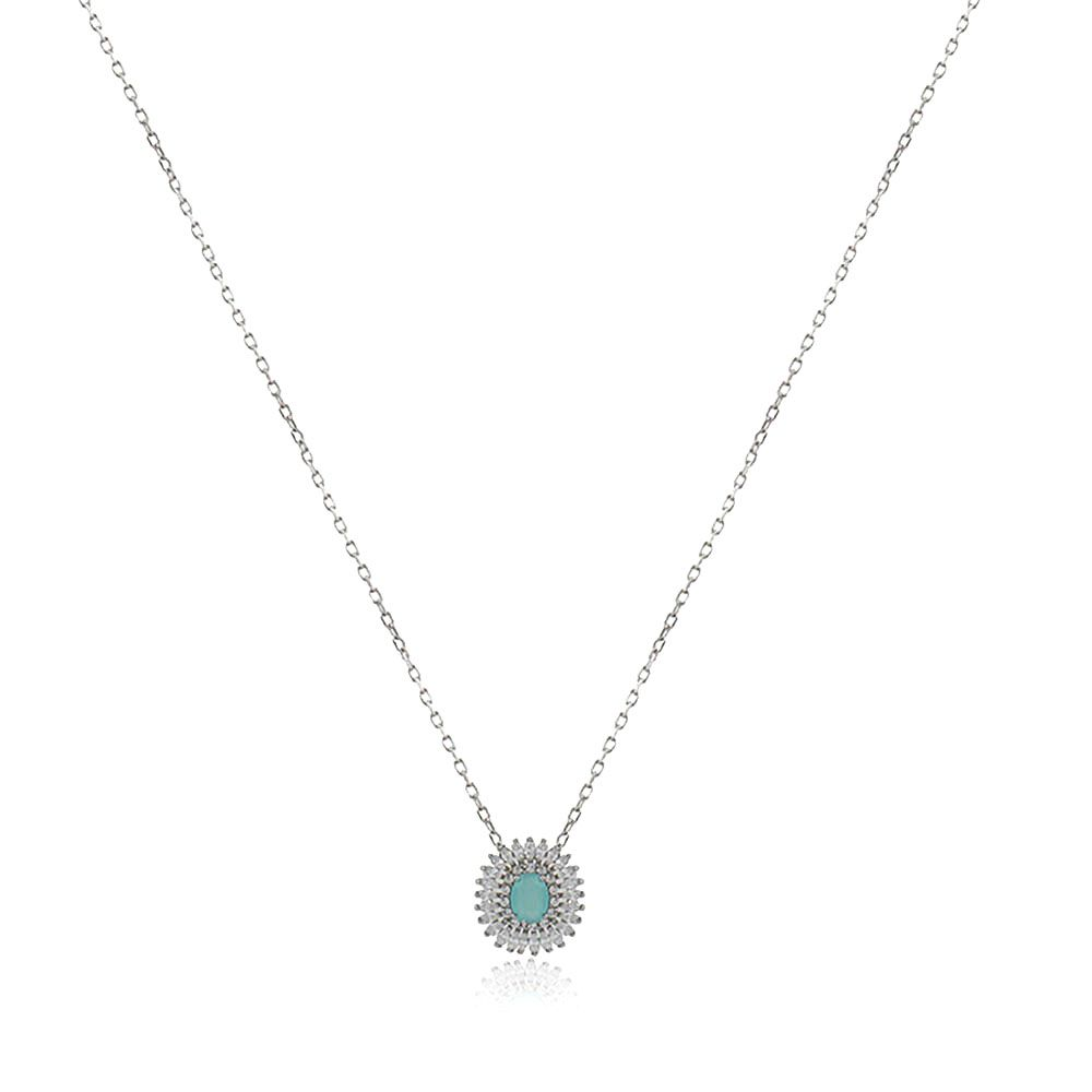 Gargantilha Elo Portugues Pingente Oval Zirconia Azul e Zirconia Cristal