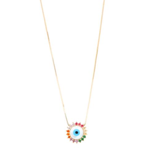 Gargantilha Olho Grego Madrepérola Zircônias coloridas