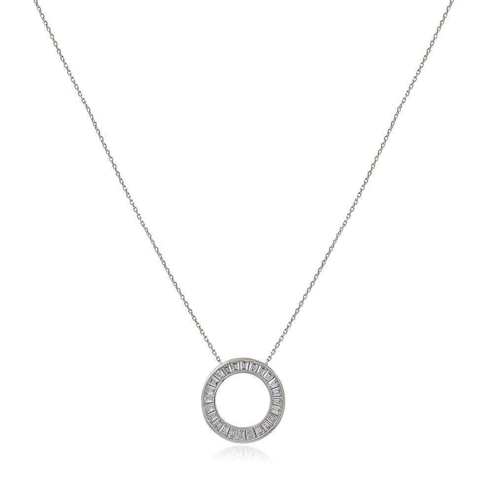 Gargantilha Prata 925 Círculo Cravejado Zirconia