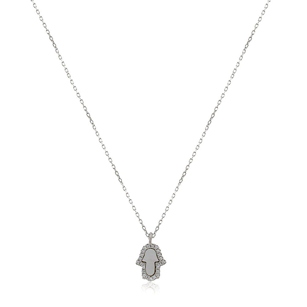 Gargantilha Prata 925 Mão de Fátima Madrepérola e Zirconia