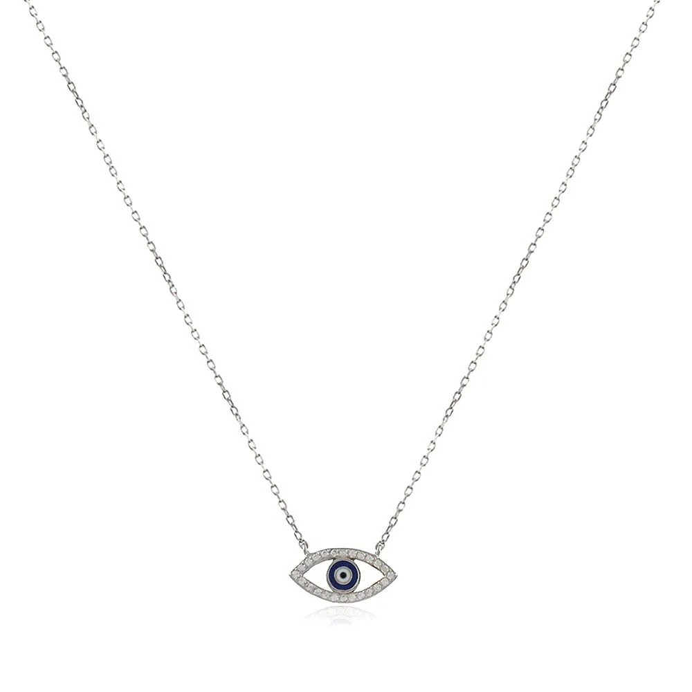 Gargantilha Olho Grego com Zirconias Prata 925