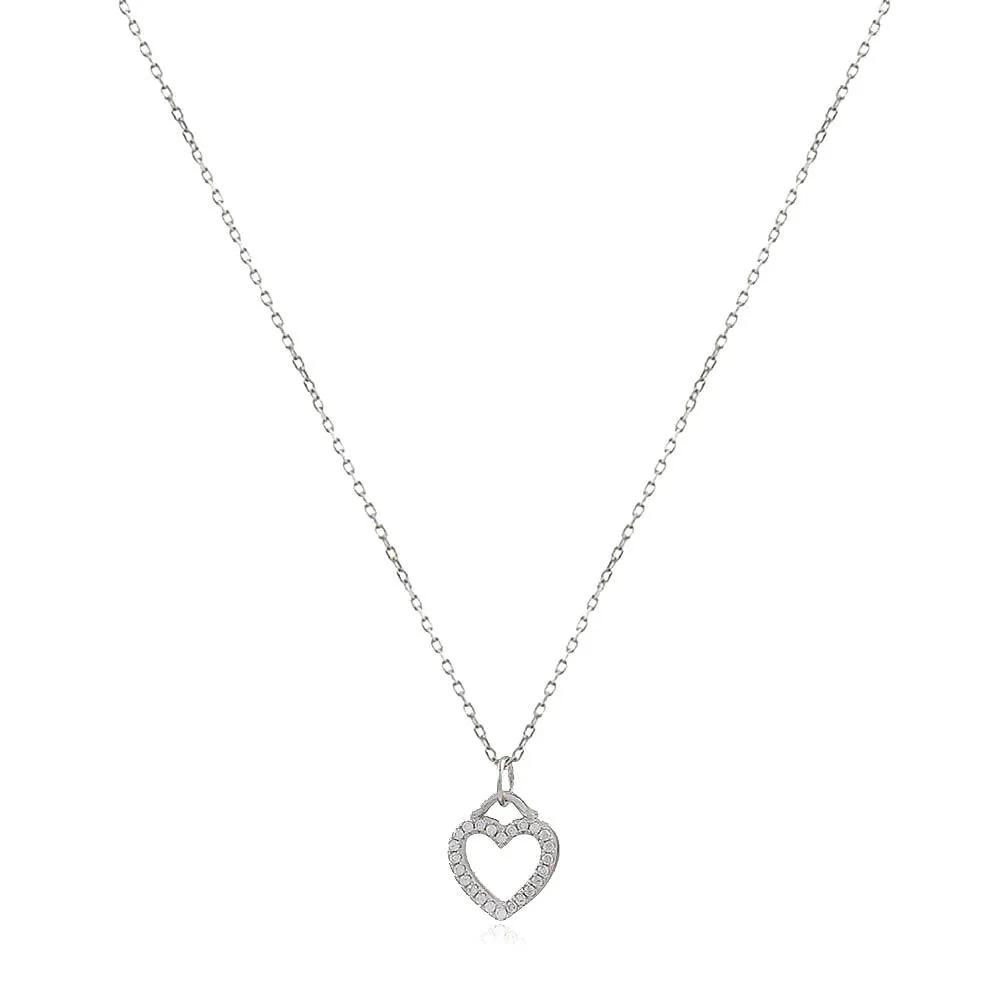 Gargantilha Prata 925 Pingente Coração Liso/Cravejado