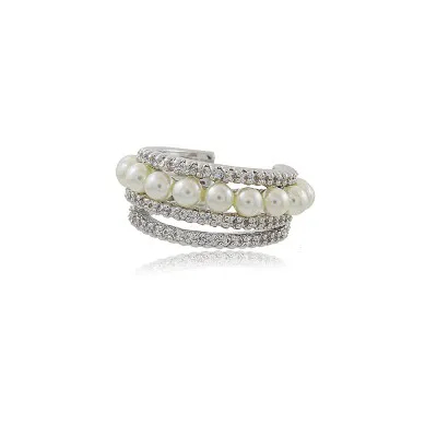 Piercing Pérola e Zirconias Cristal Ródio Branco