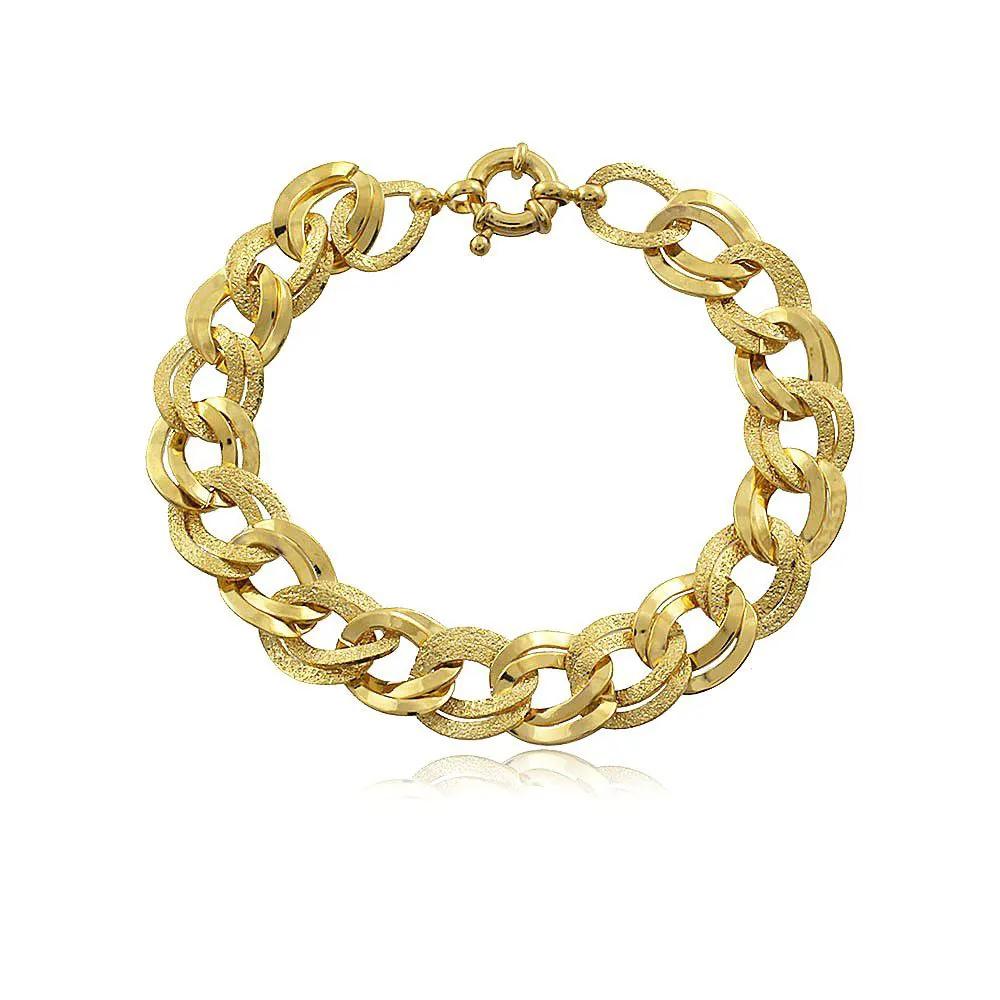 Pulseira Elos Ouro Entrelaçados Lisos e Diamantado