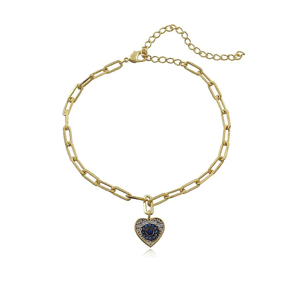 Pulseira Pingente Coração Cravejado Zircônias Cristal e Azul Ouro