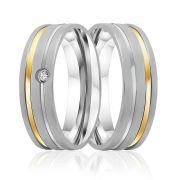 Aliança de Namoro de Prata Abaulada 6mm  com filete de Ouro