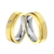 Alianças  de Noivado Ouro e Aço  Reta Com friso lateral 5mm