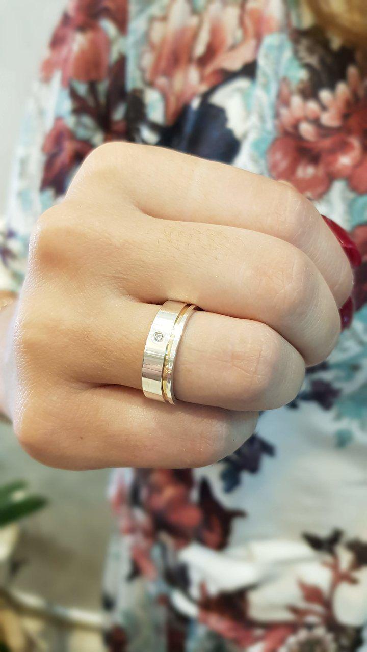 Aliança de Namoro de Prata de lei Abaulada Lisa Filete de Ouro