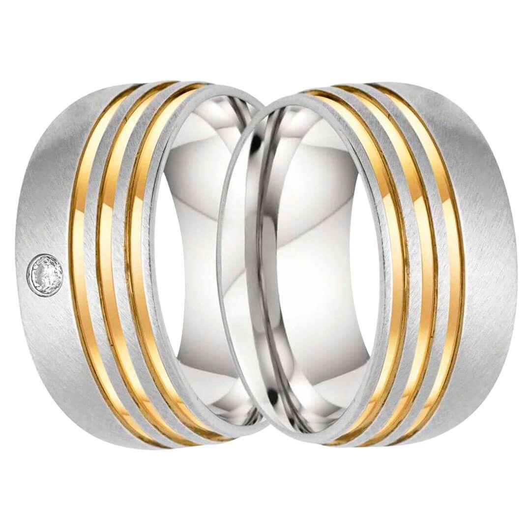 Aliança de Namoro de Aço Fosco 9mm com três frisos laterais em Ouro 18k