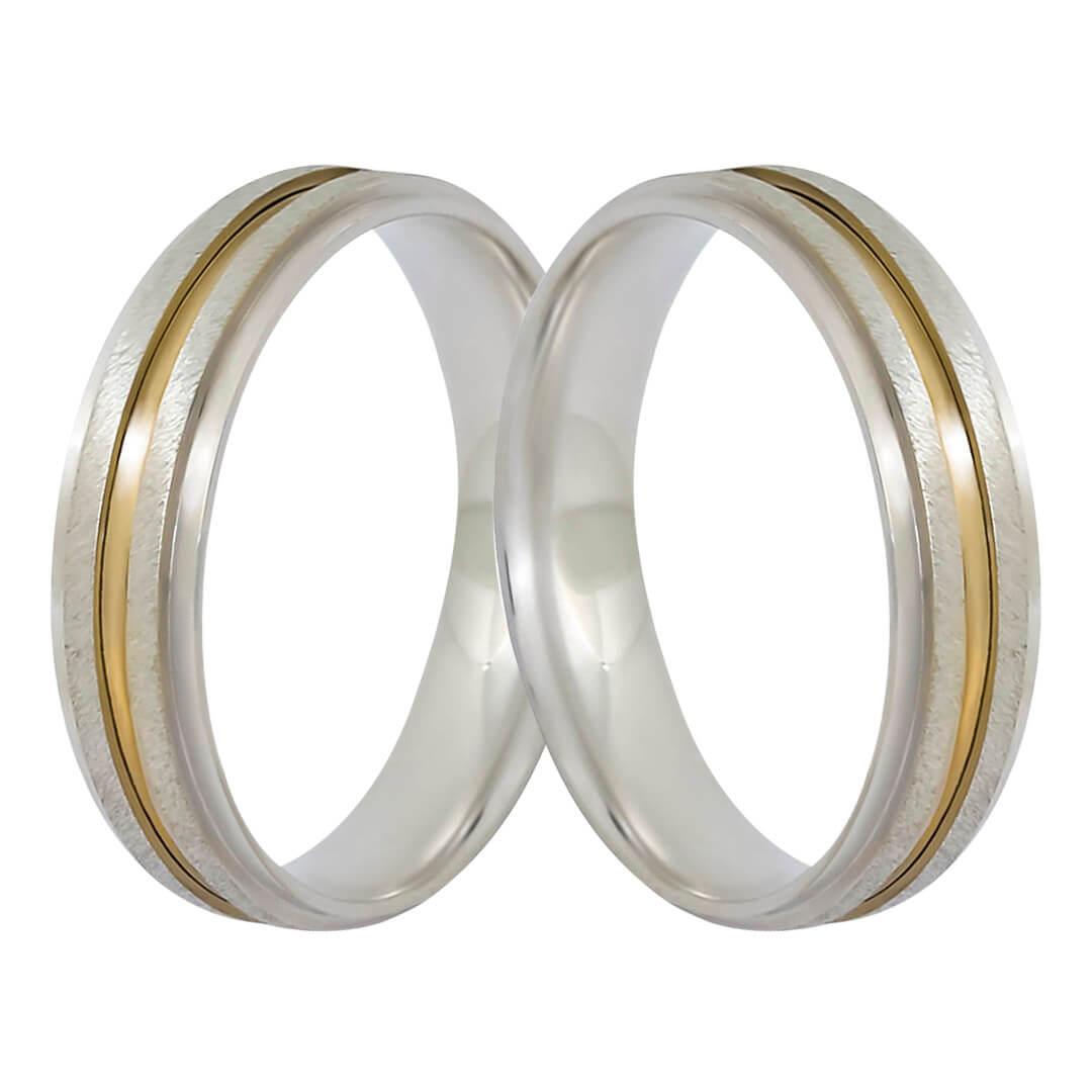 Aliança de Namoro de Prata Abaulada 4mm reta filete Ouro