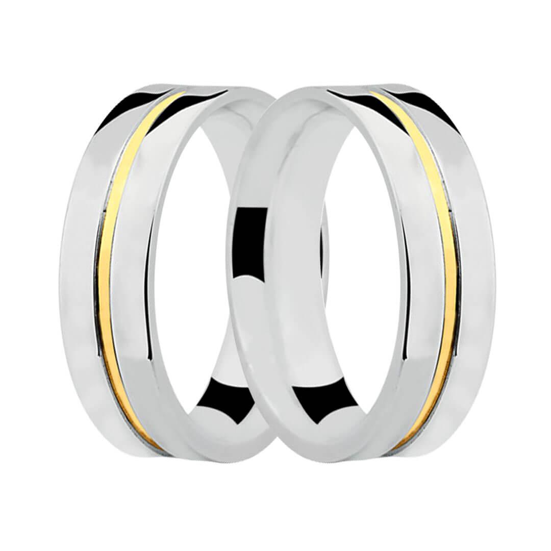 Aliança de Namoro de Prata 5mm com friso central de Ouro 18k