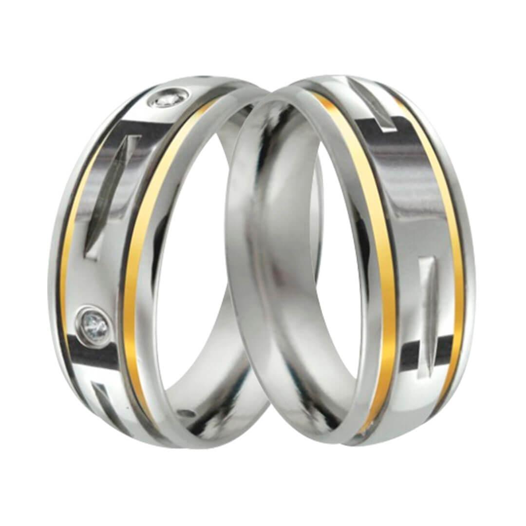 Aliança de Namoro de aço  Fresada 8mm 2 Fios  Ouro 18 e 5 Pedras