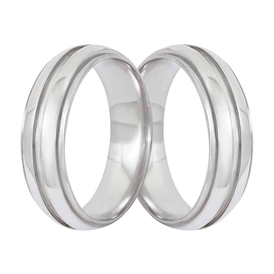 Aliança de Namoro de Prata 6mm abaulada  friso central cravejado
