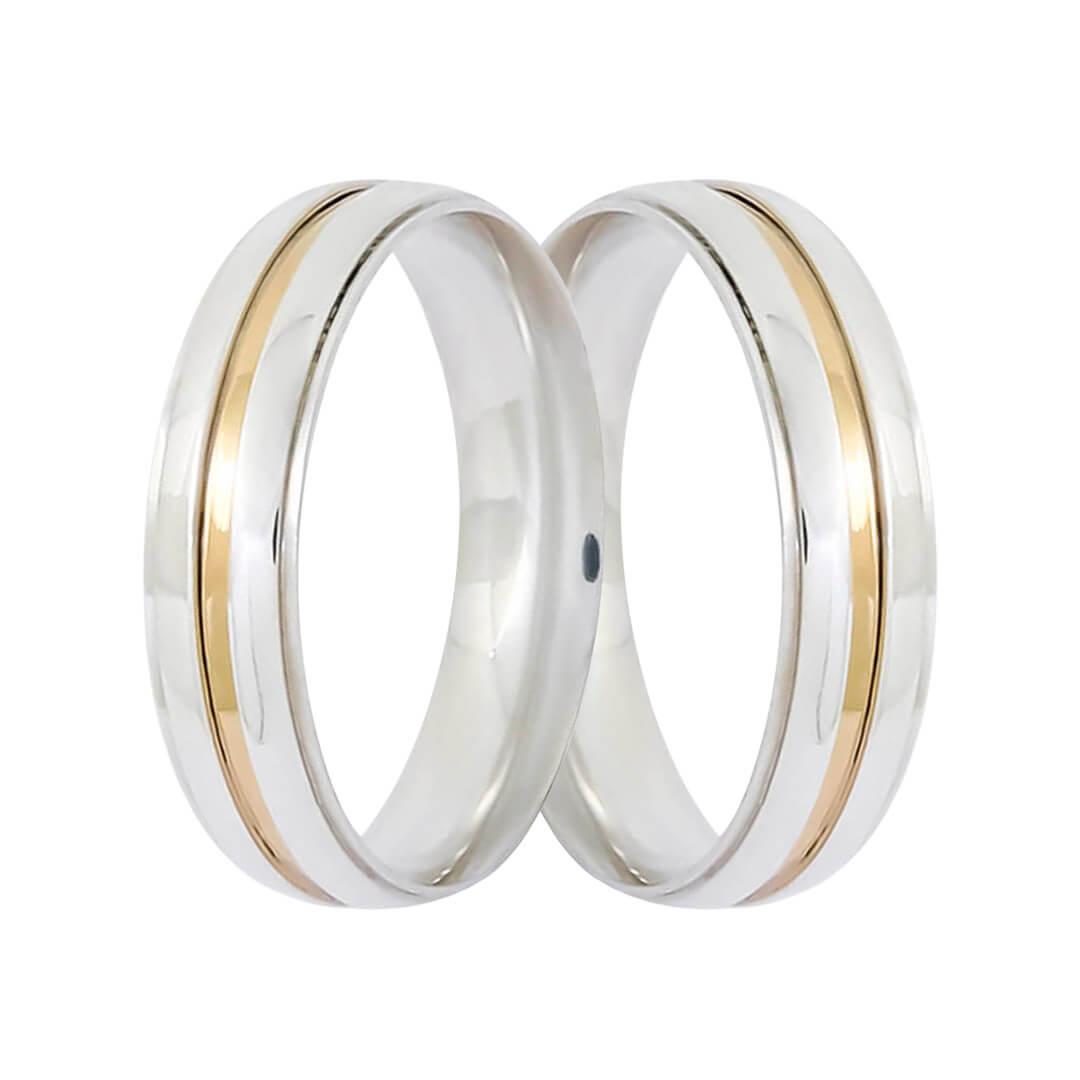 Aliança de Namoro de Prata de lei 5mm  Filete de Ouro central