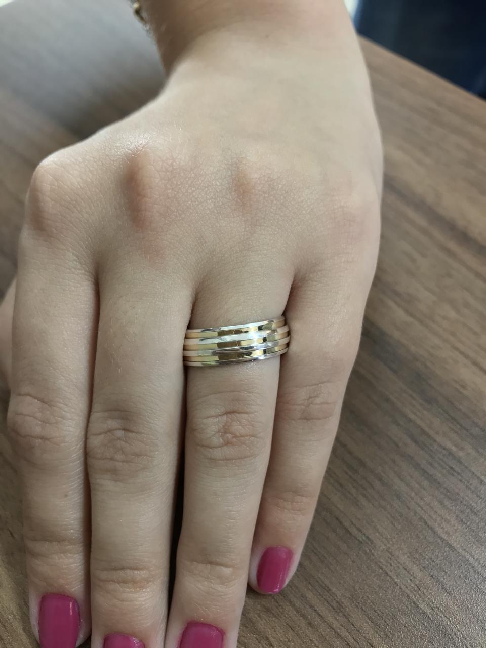 Aliança de Namoro de Prata de lei abaulada com 2 filetes de ouro