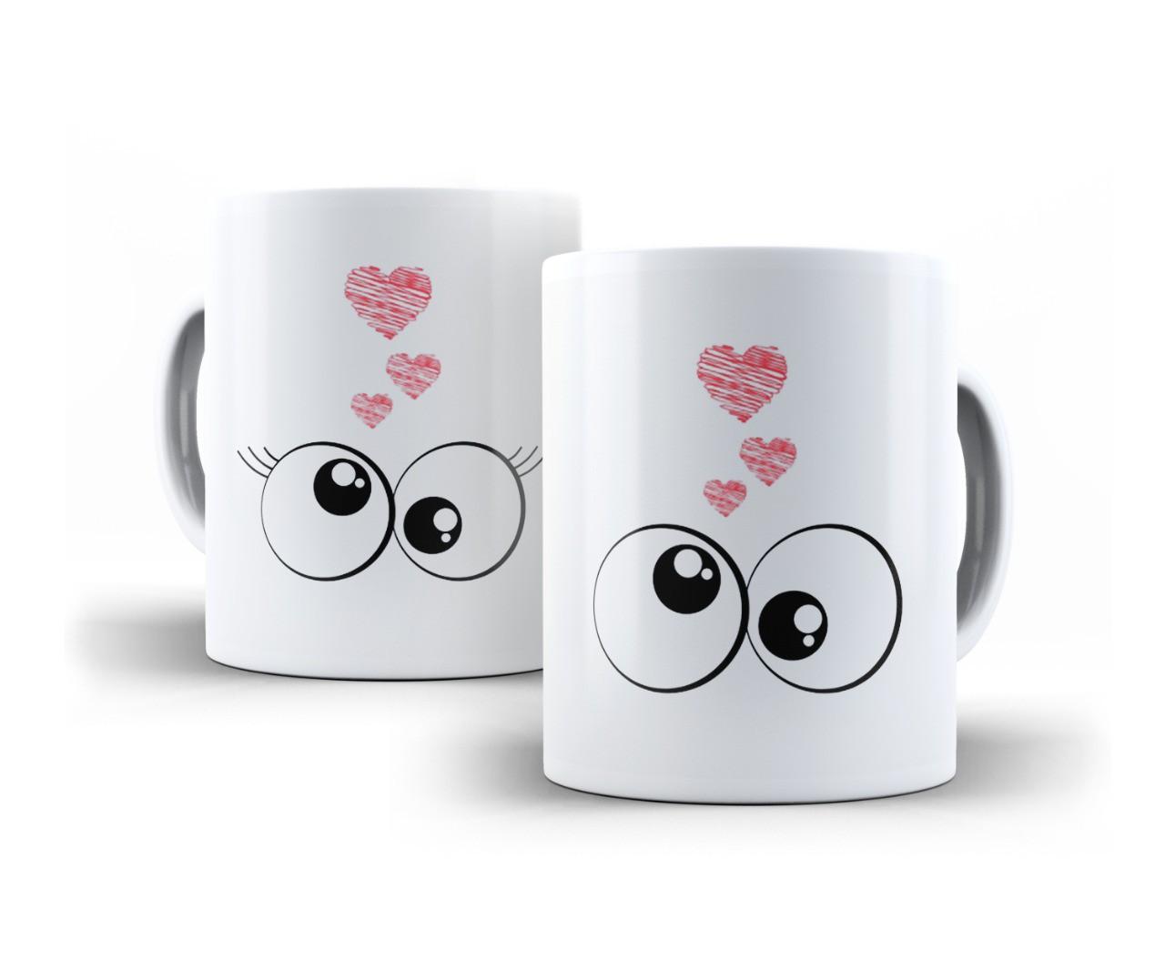 Canecas Casal Porcelana Olhar Apaixonado