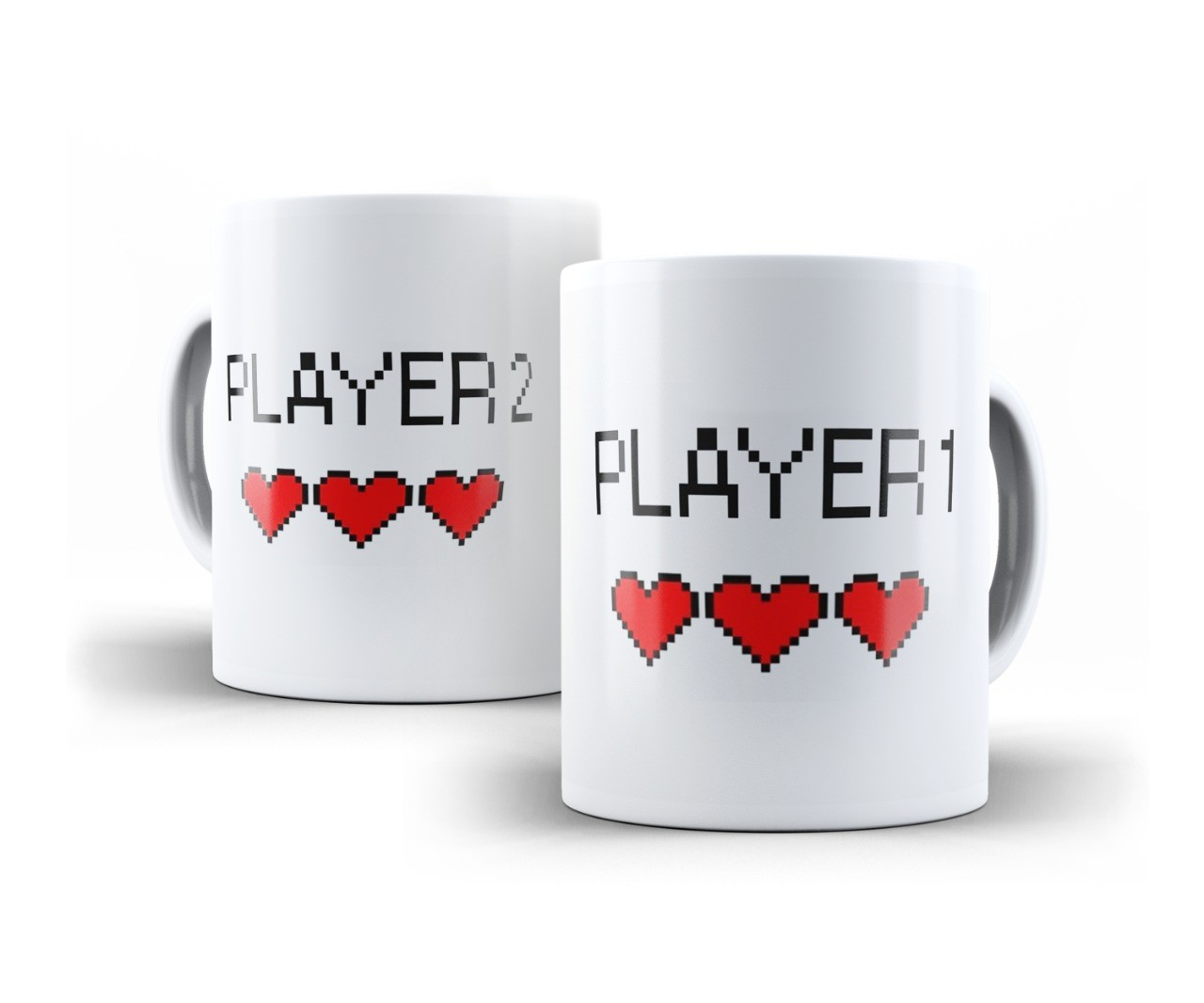 Canecas Casal Porcelana Player 1 e Player 2