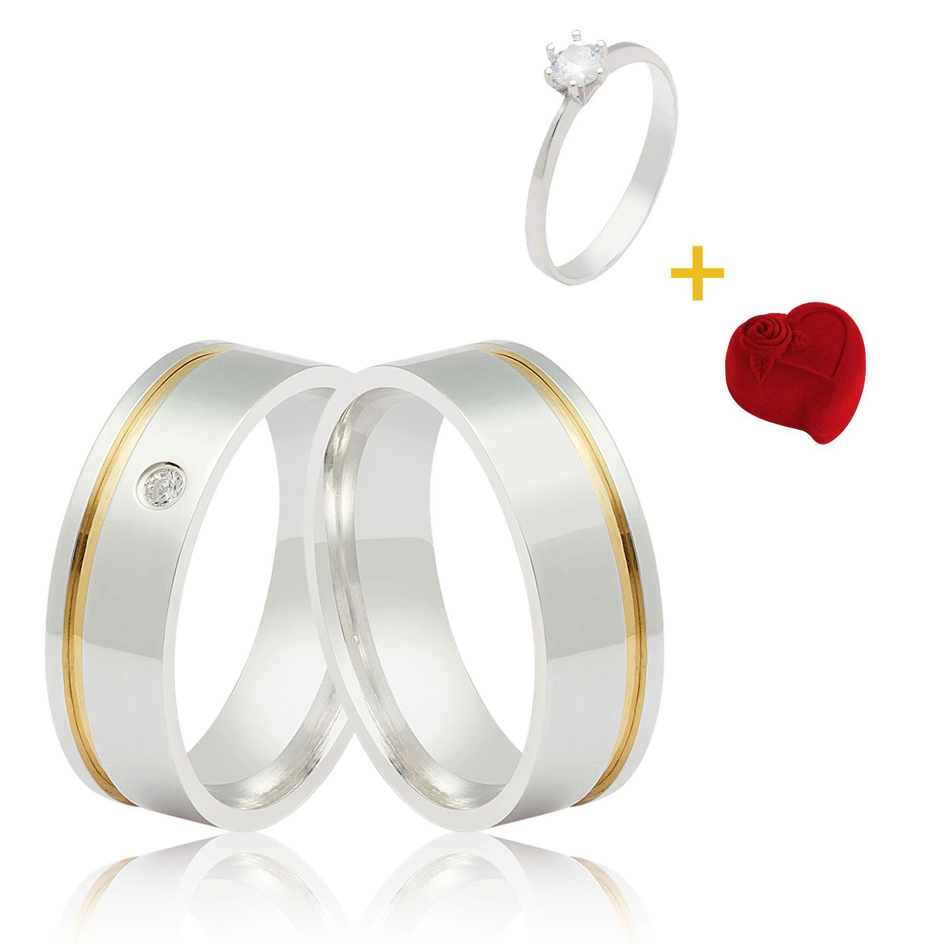 COMBO NAMORADOS Aliança de Namoro  Prata Filete Ouro + Anel Solitário + Caixinha Luxo