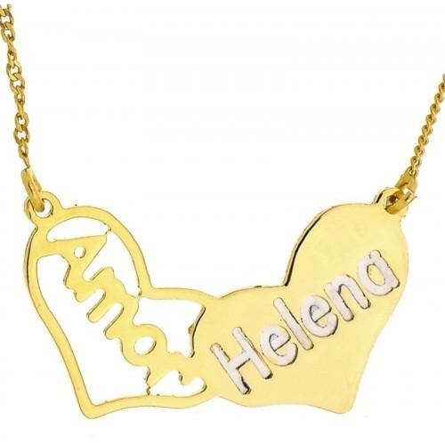 Gargantilha Amor Personalizada com Nome Banhada Ouro