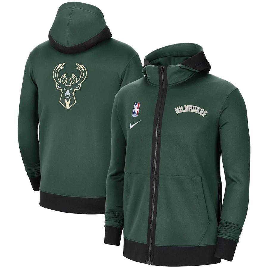 Jaqueta Nike Milwaukee Bucks Authentic Showtime Performance Full-Zip