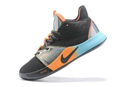 Tênis Nike Paul George 3 iridescent - Preto/Azul/Laranja