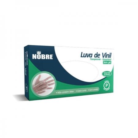 LUVA VINIL S/AMIDO P C/100 NOBRE