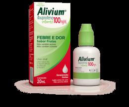 Alivium Gotas 100mg/ml - Para Febre e Dores - Adulto e Infantil - Sabor Frutas 20ml - Sem Açúcar
