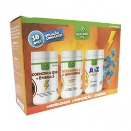 Box Energia - Coenzima Q10 e Ômega 3 + Vitamina C e Arginina + Vitamina A-Z - Contém 3 frascos de 60caps cada - Equilíbrio Vita