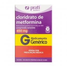 Cloridrato de Metformina 850mg - 30 Comprimidos Revestidos - Prati