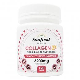 Colágeno 3x Tipo 1, 2, 3, + 18 Aminoácidos 3200mg - com 120 cápsulas - Sunfood