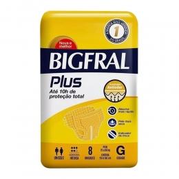 Fralda Geriátrica Bigfral Plus Tamanho G com 08 unidades