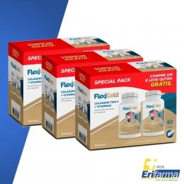 Kit Colágeno Tipo II - Compre 02 Embalagens de Flexigold Special Pack com 60 cps cada e Ganhe 01 Flexigold com 60 cps