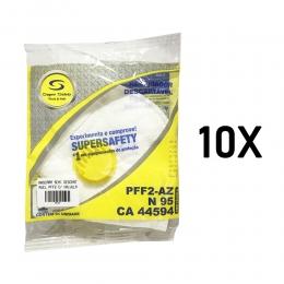 Kit com 10 Máscara Semi Descartavel PFF2 N95 Com Válvula - Super Safety