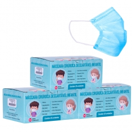 Kit com 3 Caixas - Máscara Cirúrgica Descartável Infantil com Elástico - Cor Azul - com 25 Unidades - Medi Company